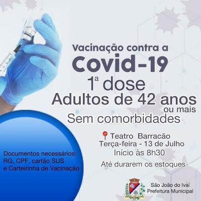 Vacinação contra a Covid em São João do Ivaí, para 42 anos ou mais