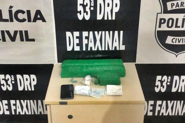 Policia Civil de Faxinal detém um jovem com mais de 2kg de maconha
