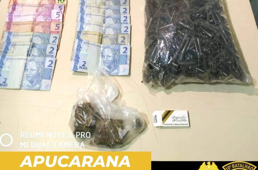 PM de Apucarana localiza drogas na Vila Regina e dois adolescentes são apreendidos