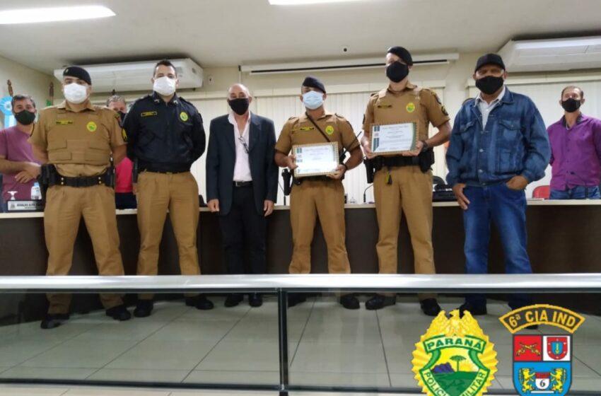 Policiais militares recebem Moção de Aplauso em Jardim Alegre