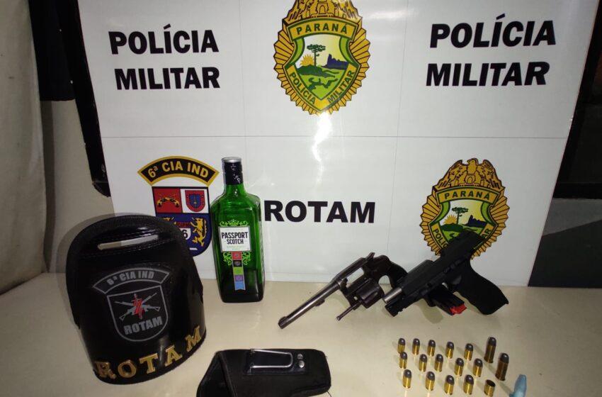Em Ivaiporã no fim de semana, policia prendeu jovem de Kaloré, com armas e pino de cocaína