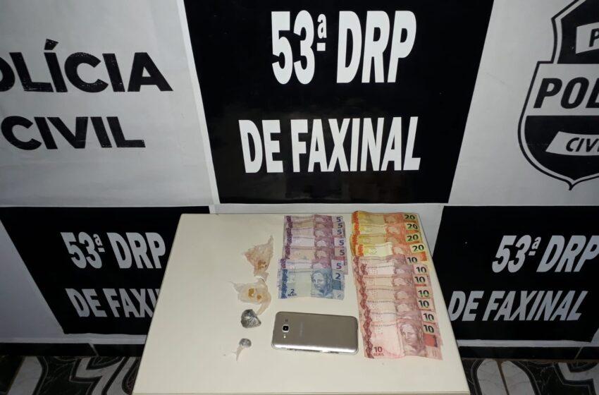 Casal é preso suspeito de tráfico de drogas em Faxinal