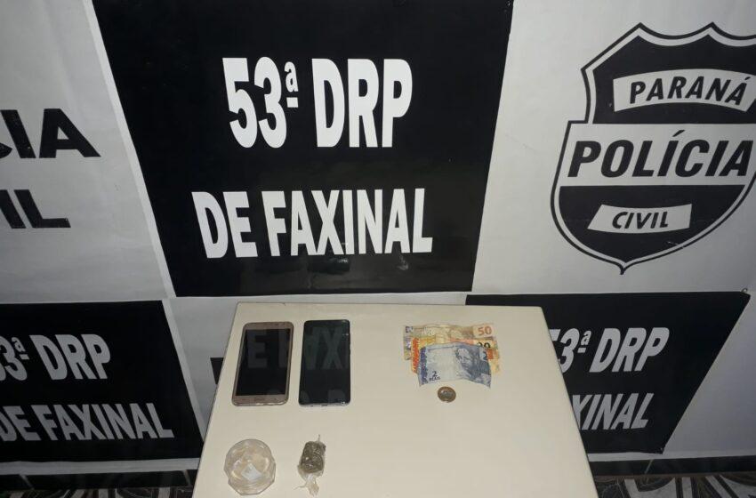 """Polícia Civil de Faxinal deteve suspeitos de tráfico em """"Boca de Fumo"""" em Borrazópolis"""