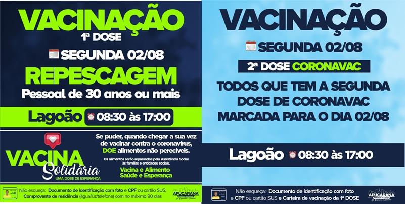 Apucarana abre vacinação para novos grupos nesta segunda-feira (02)