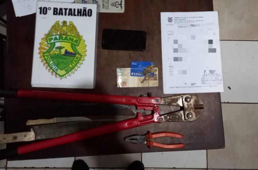 Três foram presos com cerca de 200 metros de fio furtados em Apucarana