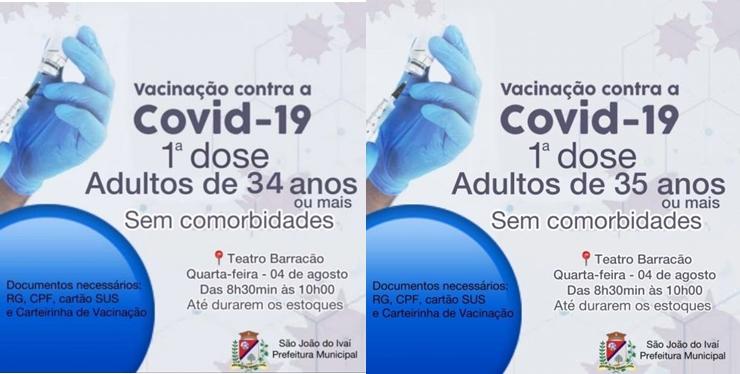 São João do Ivaí abre vacinação para novos grupos nesta quarta-feira (04)