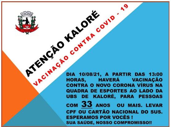 Kaloré abre vacinação para novos grupos nesta terça-feira (10)