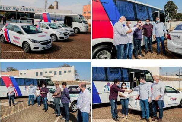 Junior da Femac faz entrega de três veículos e um ônibus