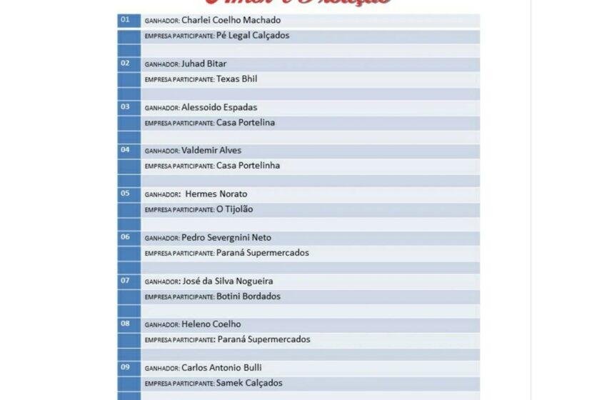 """Ganhadores da campanha de """"Dia dos Pais"""" da Acisi de Ivaiporã"""