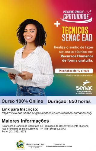 São Pedro do Ivaí oferece curso de Recursos Humanos 100% gratuito