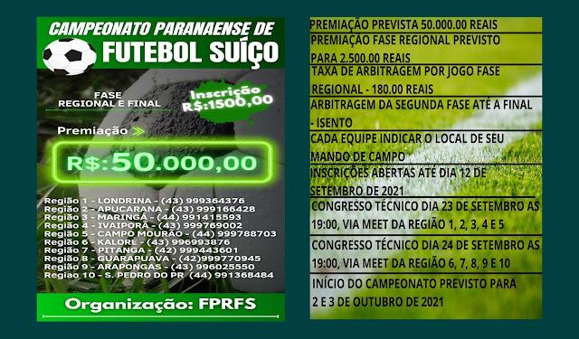 """Campeonato Paranaense de Futebol Suíço com premiação de """"R$ 50 mil"""""""