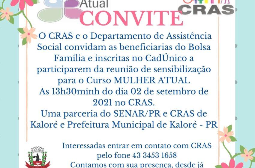 """CRAS de Kaloré realizar """"Curso Mulher Atual"""""""