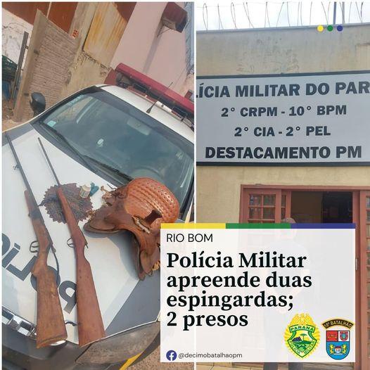 PM de Rio Bom apreende duas espingardas