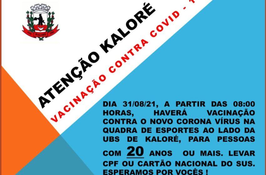 Kaloré abre novo grupo para vacinação contra covid-19