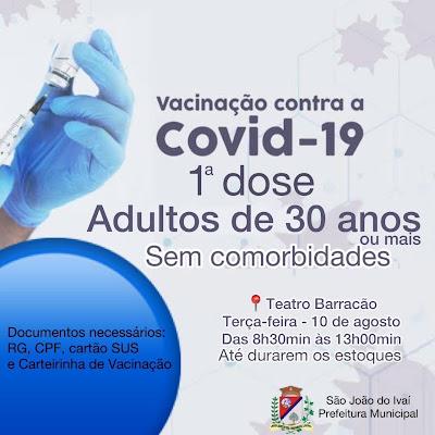 São João do Ivaí abre vacinação para novos grupos nesta terça-feira (10)