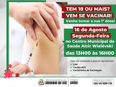 Ariranha do Ivaí abre vacinação para novos grupos nesta segunda-feira (16)