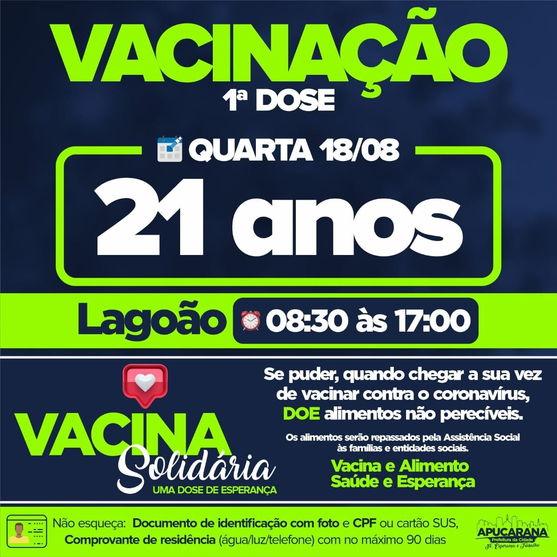 Apucarana abre vacinação para novos grupos nesta quarta-feira, 18