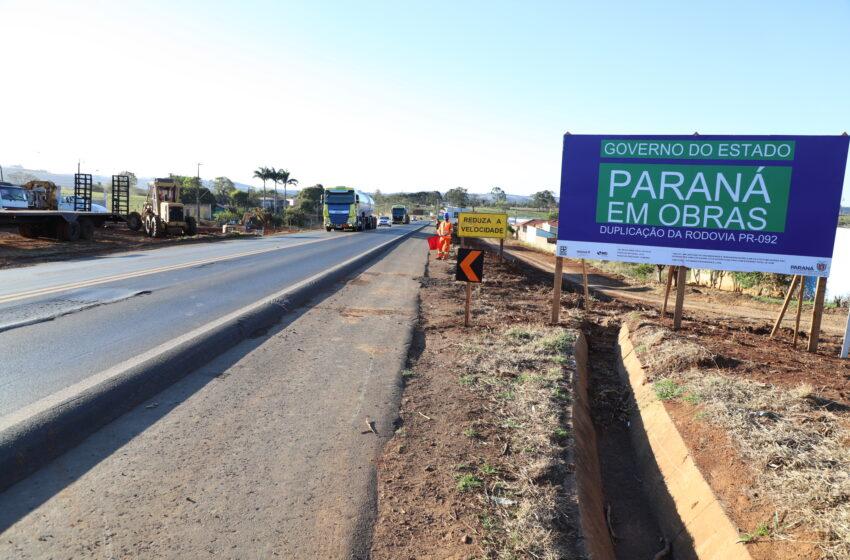 Governador anuncia duplicação de 4,2 quilômetros da PR-092, no Norte Pioneiro