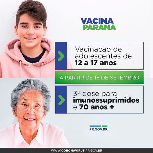 Paraná deve iniciar na próxima semana vacinação de adolescentes e dose de reforço contra a Covid-19