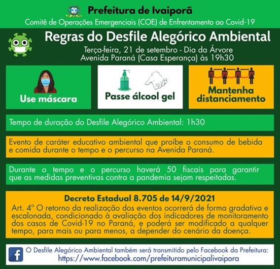 Prefeitura divulga regras do desfile alegórico ambiental