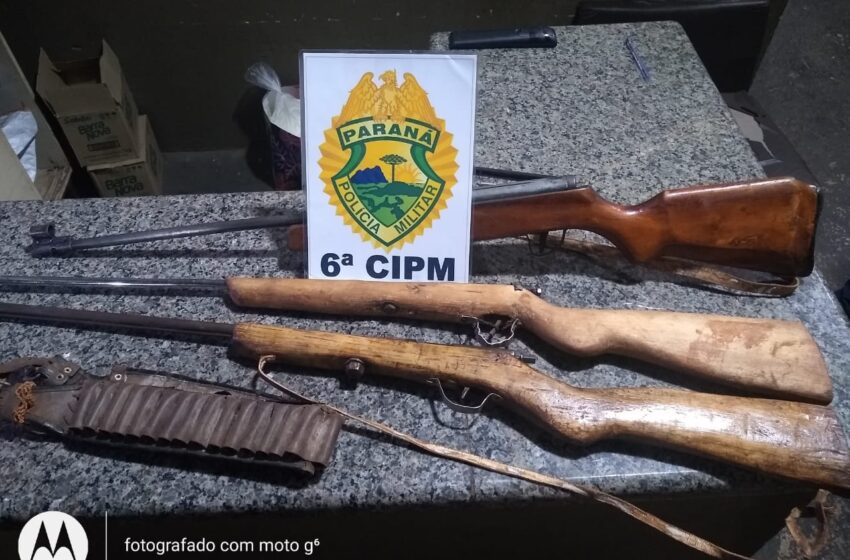 Em Arapuã, três são presos por porte ilegal de arma de fogo