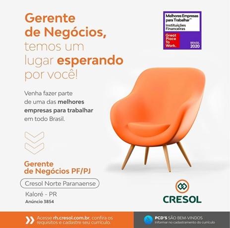 CRESOL – Oportunidade de emprego na unidade de Kaloré