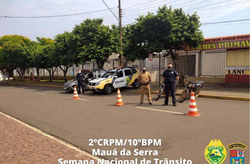 PM e Guarda Municipal realizam bloqueios de trânsito e abordagens em Mauá da Serra; duas motocicletas foram apreendidas