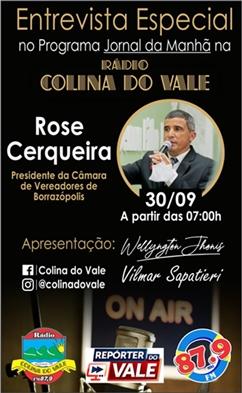 Nesta quinta-feira tem entrevista ao vivo com o vereador Rosi Cerqueira na Colina do Vale FM