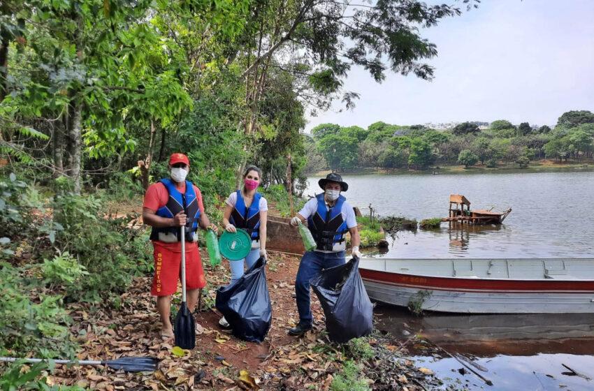 Sanepar e Prefeitura de Apucarana retiram lixo do Lago Jaboti