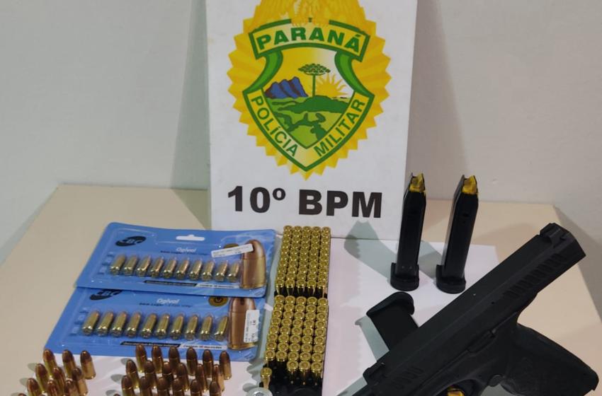 PM prende homem e apreende arma de fogo e 159 munições em Apucarana