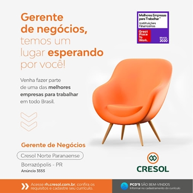 CRESOL – Oportunidade de emprego na unidade de Borrazópolis