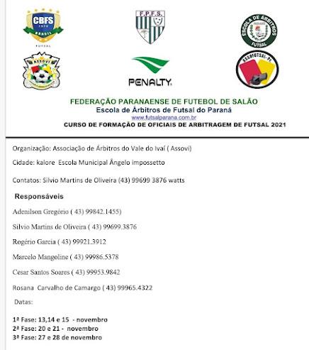 Vem aí o Curso de Arbitragem de Futsal 2021
