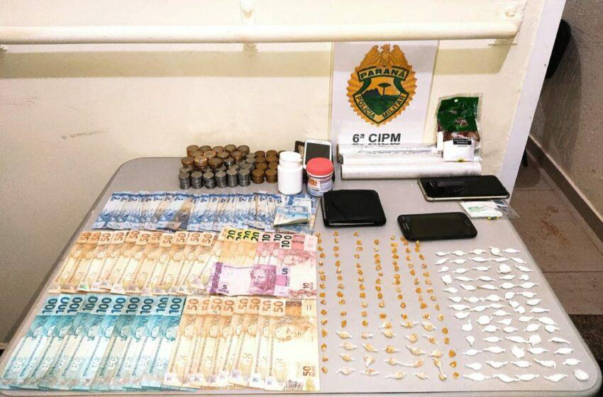 Em São João do Ivaí, PM encaminha três pessoas por envolvimento com drogas e apreende crack e cocaína