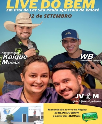 Live solidária em prol ao Lar São Paulo Apóstolo de Kaloré