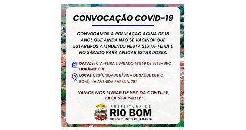 RIO BOM – Saúde convoca população maior de 18 anos que ainda não se vacinou para a COVID-19
