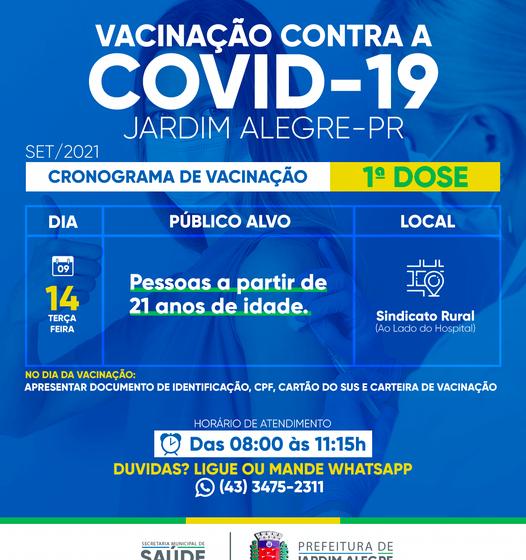 JARDIM ALEGRE – Abre novo grupo de vacinação contra covid-19