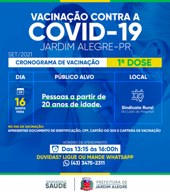 Calendário de vacinação de Jardim Alegre