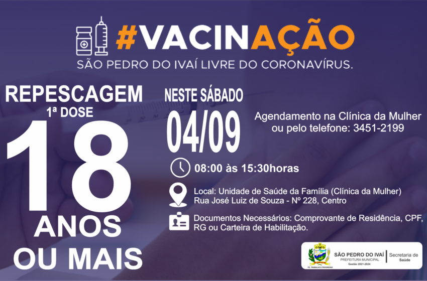 São Pedro do Ivaí abre novo grupo de vacinação contra a Covid-19