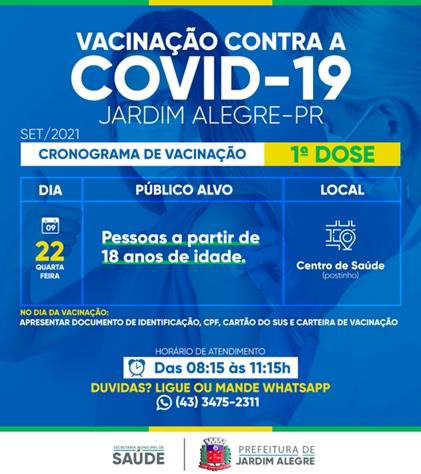 JARDIM ALEGRE – Calendário de Vacinação