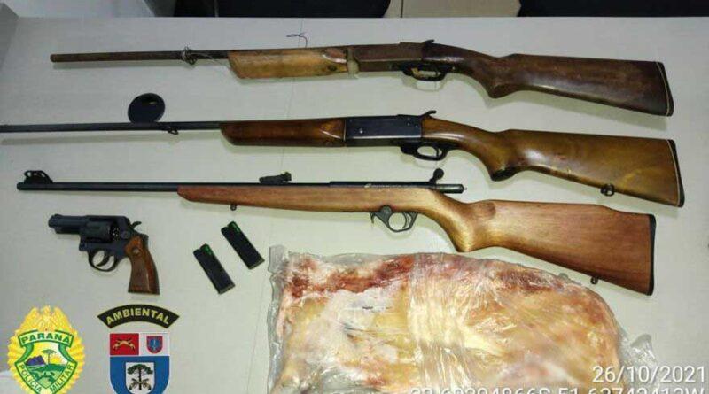 Polícia Ambiental apreende armas e encontra animal silvestre abatido em Jandaia do Sul