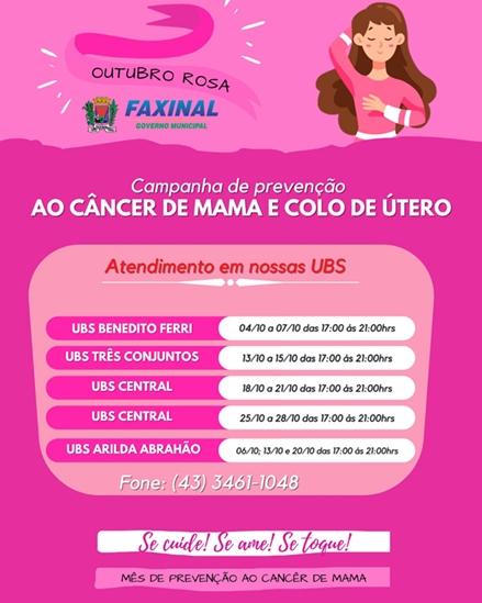 FAXINAL – Campanha de prevenção Outubro Rosa