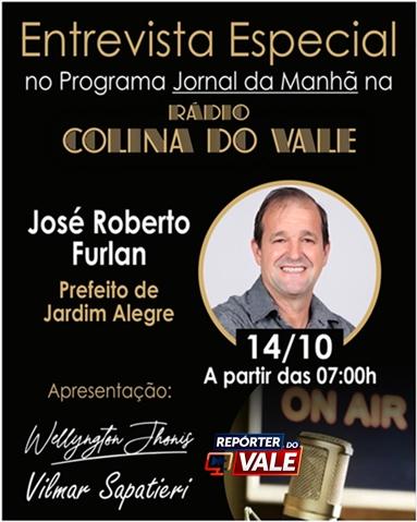 Nesta quinta-feira tem entrevista ao vivo com o prefeito Furlan na Colina do Vale FM