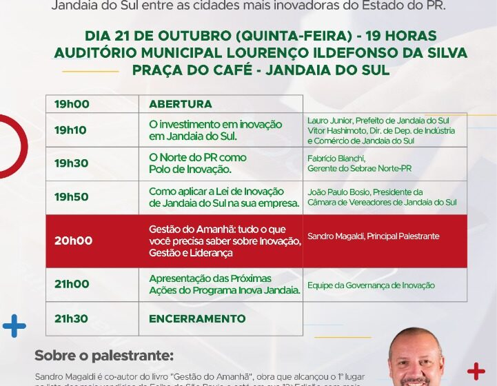 JANDAIA DO SUL – Lançamento do programa Inova Jandaia contará com a presença do palestrante Sandro Magaldi na quinta (21)