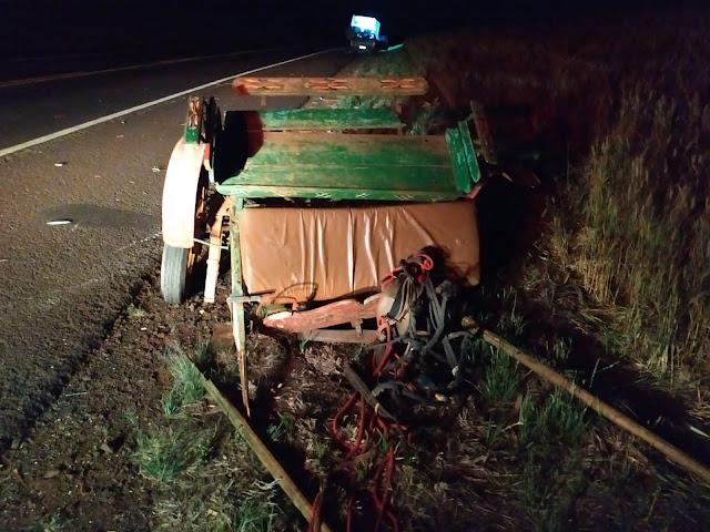 Morre a vítima de acidente de trânsito entre carroça e viatura do IML