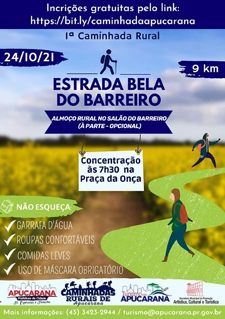Apucarana promove 1ª Caminhada Rural Estrada Bela