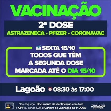 Apucarana aplica amanhã 2ª dose da Pfizer, Coronavac e astraZeneca