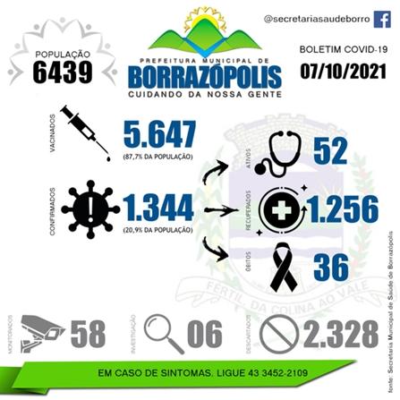 Confira as atualizações do boletim covid de Borrazópolis