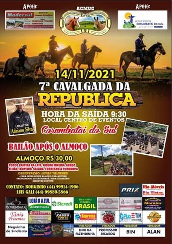 Vem aí a 7ª Cavalgada da República em Corumbataí do Sul