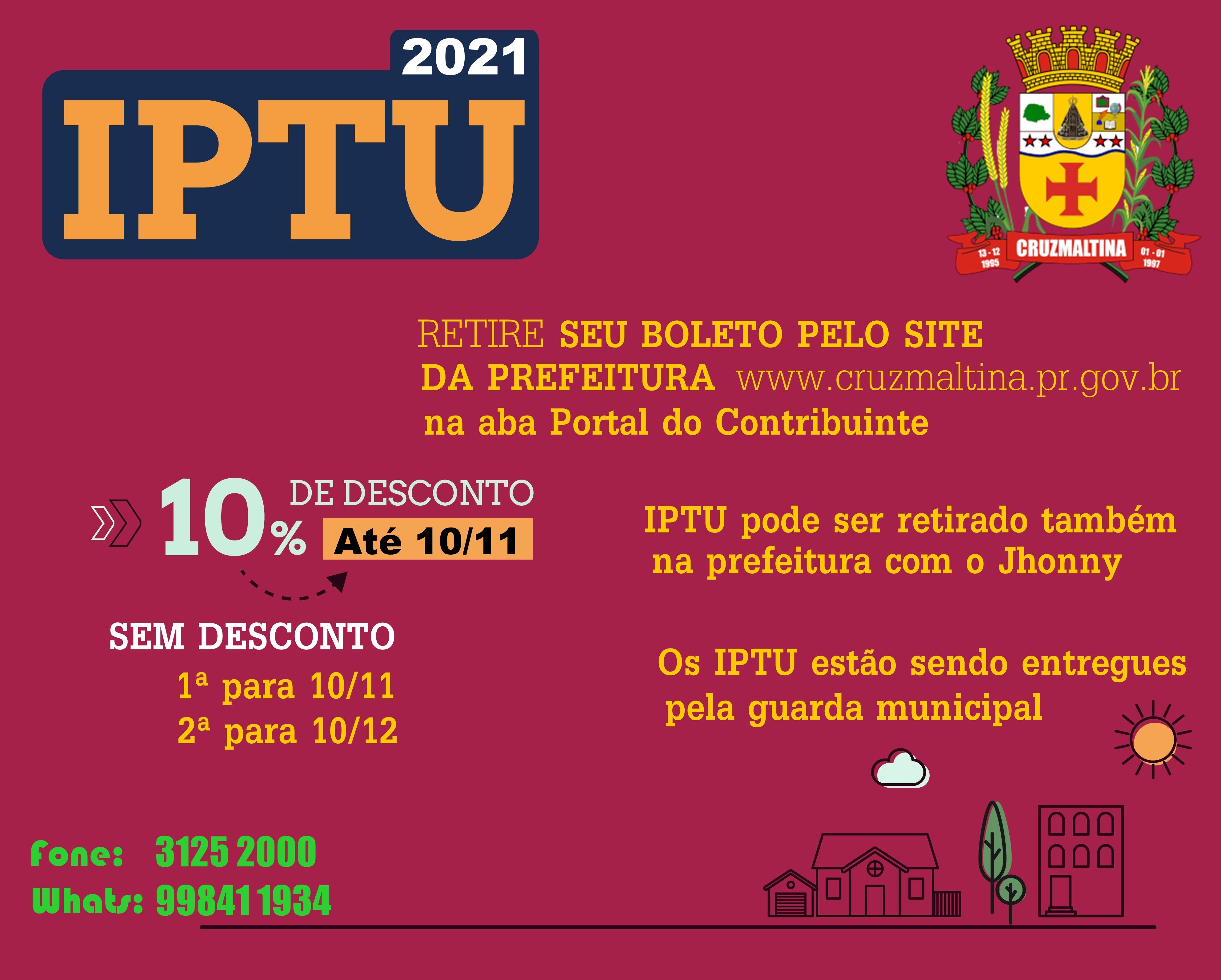 CRUZMALTINA - IPTU disponível para pagamento