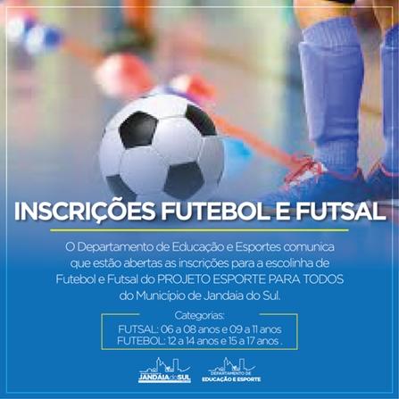 CAMBIRA – Aberta inscrições para a escolinha de futebol e futsal do Projeto Esporte para Todos